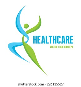 Healthcare - vector logo template concept. Abstract man sign. Human character symbol. Nature organic product. Fitness sport icon. Design element.