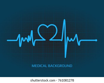 Healthcare vector medical background with heartbeat cardiogram on dark background