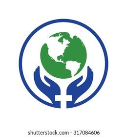 healthcare world logo vector.