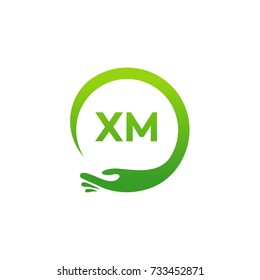 Healthcare XM initial logo designs template, Modern XM initial Care with hand symbol vector