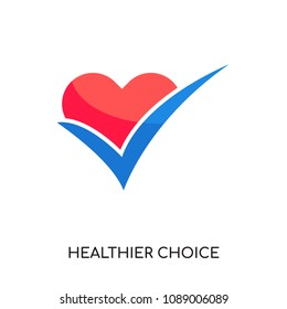 healthier choice logo isolated on white background for your web and mobile app design , colorful vector icon, brand sign & symbol for your business, healthier choice icon concept