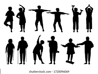 Healthy active lifestyle older people, black flat silhouette set. Sport retiree grandparent. Glyph elderly people doing morning exercises, gymnastics. Monochrome old men and women. Vector illustration