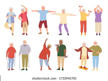 Healthy active lifestyle older people cartoon set. Sport retiree grandparent, incline to side. Elderly people doing morning exercises, gymnastics. Old men and women walking. Vector illustration