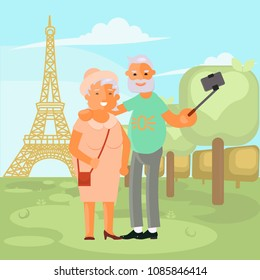 Healthy active lifestyle retiree for grandparents. Elderly people characters travel. Voyage for grandparents family Seniors make a selfie on Eiffel tower view. Vector illustration eps 10
