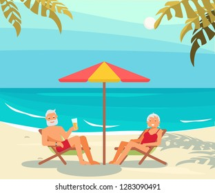 Healthy active lifestyle retiree for grandparents family Elderly people characters on a loungers drinks a beer and relaxes on a sea beach Seniors isolated on white background Vector illustration eps