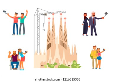 Healthy active lifestyle. Young and old people characters characters travel. Voyage around Europe and make a photo on Sagrada Familia view in Spain, Barcelona. Vector illustration eps 10