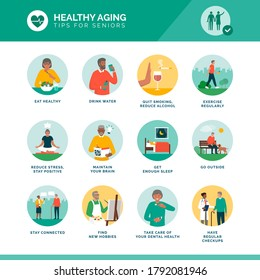 Healthy aging and senior wellness icons set: healthy lifestyle, brain maintenance and fitness for elder people
