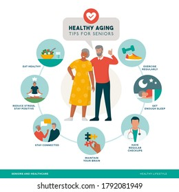 Healthy aging and senior wellness icons set: healthy lifestyle, brain maintenance and fitness for elder people, infographic with happy senior couple smiling