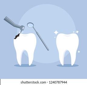 Healthy and bad teeth treatment. Somatology dentist concept. Vector flat cartoon design graphic illustration icon