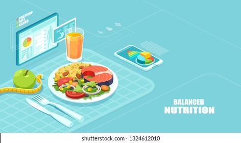 Healthy balanced diet and weight loss program concept. Isometric vector of a nutrition app showing nutrition facts and assisting in calories count of a meal