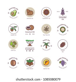 Healthy bio cosmetics oil linear vector logos. Avocado and almond oil, sunflower seed and lavender illustration
