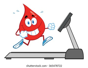 Healthy Blood Drop Cartoon Character Running On A Treadmill. Vector Illustration Isolated On White