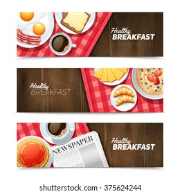 Healthy breakfast 3 horizontal banners set with black coffee and fried eggs on dark wooden table vector illustration