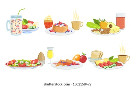 Healthy Breakfast Dishes Set, Classical Menu with Smoothie, Pancakes, Sandwiches, Fruits, Vegetables and Berries Vector Illustration
