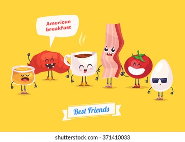 Healthy Breakfast. Funny characters  egg bacon bread tomato honey and coffee. Funny food. Vector cartoon illustration. Cute stylish characters. Vector stock illustration.