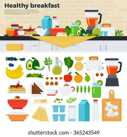 Healthy breakfast vector flat illustrations. Fresh dishes full of vitamins on served on the table. Healthy eating concept. Milk, cheese, porridge, fruits isolated on white background
