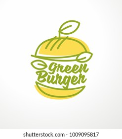 Healthy burger made from organic green ingredients. Vegan burger logo design idea. Apple shape burger with leaves. Vector line art.