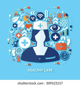 Healthy care concept design on blue background,clean vector