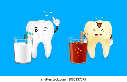 Healthy cartoon tooth with a glass of milk and decayed tooth with a soda. Dental care concept. Good and bad drinks for your teeth. Illustration isolated on blue background