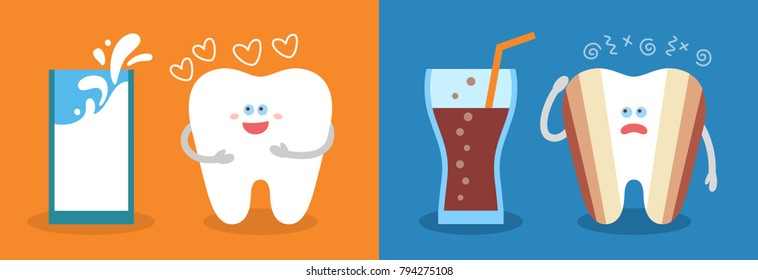 Healthy cartoon tooth with a glass of milk and decayed tooth with a soda. Dental care and hygiene infographics. Good and bad food for your teeth.