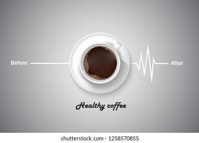 Healthy coffee with coffee cup pulse symbols. Vector illustrations.