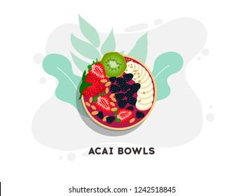 Healthy and colorful breakfast acai smoothie bowl with fruit toppings. Berry smoothie bowl with chia seeds, bananas, kivi,  blackberry and raspberries on white background. Healthy summer meal