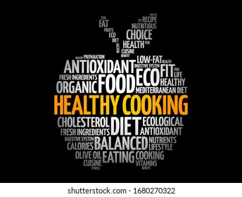 Healthy Cooking apple word cloud, health concept background