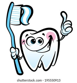 Healthy cute cartoon tooth character making a thumb up gesture while smiling happily and holding a dental tooth brush with tooth paste