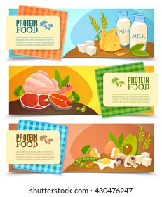 Healthy diet 3 horizontal flat banners set with information on high protein food abstract isolated vector illustration