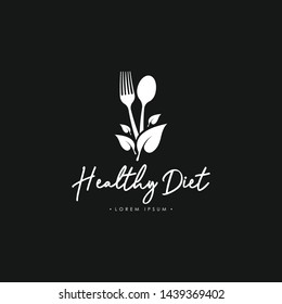 Healthy Diet with Cutlery Logo Template Vector in Black and White