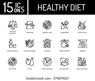 Healthy diet icons, healthy dieting icon, rational nutrition icons, slimming loss weight, healthy lifestyle, balanced diet eating, organic food, vegetarian food, protein diet, healthy diet concept