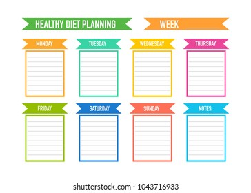 healthy diet planning weekly meal plan stock vector royalty free