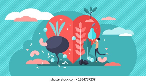 Healthy diet vector illustration. Tiny persons concept with raw vegetables. Vegan and vegetarian fresh ingredient food. Organic, natural and nutrition full meal lifestyle and products for weight loss.