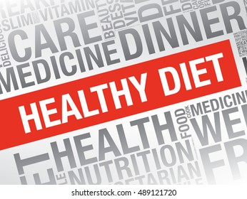 Healthy diet, word cloud vector concept presentation background