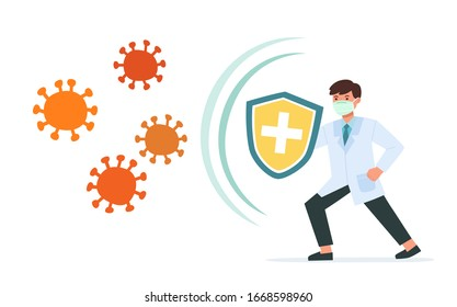 Healthy Doctor reflect bacteria attack with shield. Doctor holds shield covering from virus and bacteria. Health bacteria virus protection. Boost Immunity with medicine concept illustration.