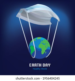 Healthy earth arrives by mask looking parachute. save the world from pandemic. A creative vector illustration for earth day awareness building and optimistic communication design.