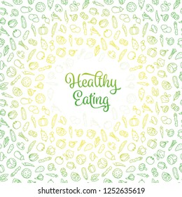 Healthy Eating concept with phrase and seamless wallpaper pattern from vegetables icons