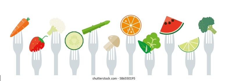 Healthy eating concept. Variety of fruit and vegetables sticked on forks flat design illustration