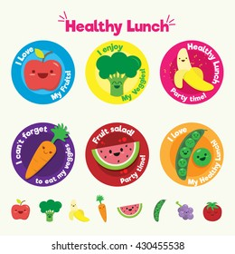 Healthy eating flat icons and labels set with fruits and vegetables for kids.