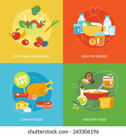 Healthy eating flat icons set with fruits and vegetables drinks low fat food isolated vector illustration
