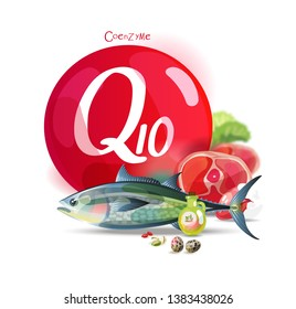 Healthy eating. Natural organic products with a high content of coenzyme q10. Set