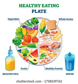 Healthy eating plate vector illustration. Labeled educational food example scheme with vegetables, whole grains, fruit and protein as needed nutrition elements and ingredients. Diet product collection
