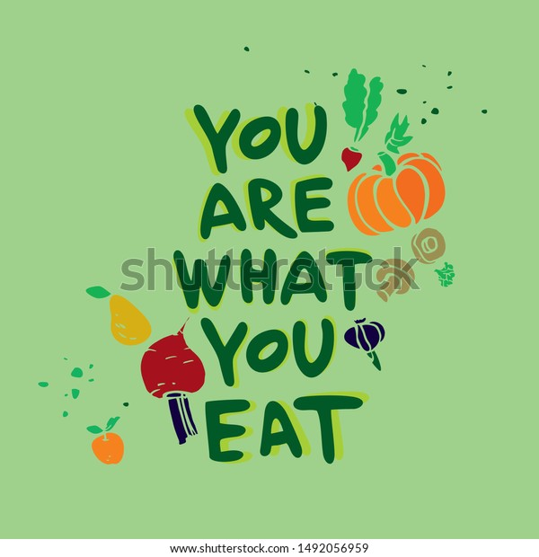 Healthy Eating Quote Vector Illustration Vegetables Stock Vector Royalty Free 1492056959