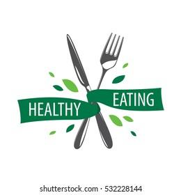 healthy eating vector logo