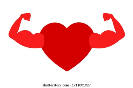 Healthy and fit heart with strong muscles. Health of cardiovascular system. Power and strength of love heart. Vector illustration isolated on white.