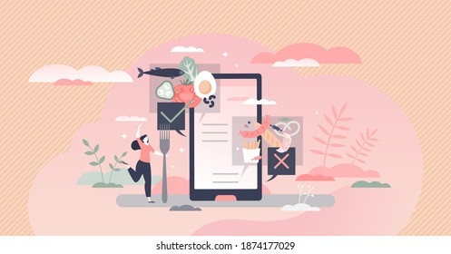 Healthy food app as mobile application with nutritional value info tiny person concept. Interactive tool to separate junk and vitamin rich meal eating vector illustration. Web help for weight loss.