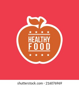 Healthy food apple, vector illustration