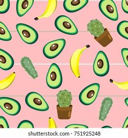 healthy food. Avocado print. Seamless pattern