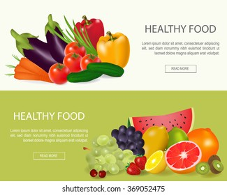 Healthy food  banners set.Fresh fruit and vegetable.Vector illustration with vegetable and fruit