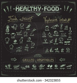 Healthy food chalkboard menu with hand drawn assorted fruits and vegetables chalk graphic symbols collection. Fresh juices, vegetarian salads, grilled vegetables